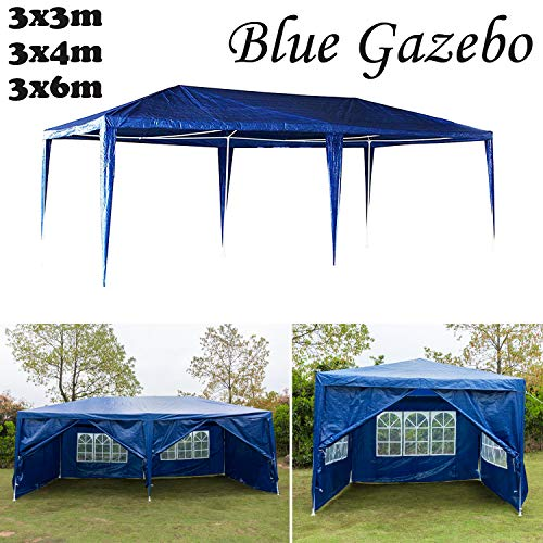 AutoBaBa Garden Gazebos, Blue PE Gazebo Marquee Awning Tent Canopy for Outdoor Wedding Garden Party, 3x3m, 3x4m, 3x6m, Fully Waterproof, (3x6m, with Zip Up Side Panel, A Type)