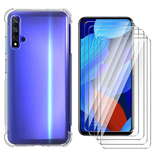 HYMY Hülle für Huawei Nova 5T+ 5 x Schutzfolie Panzerglas -Transparent Erdbebenresistenz Schutzhülle TPU Handytasche Tasche Verstärkung an Vier Ecken Case für Huawei Nova 5T(6.26