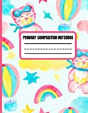 Primary composition notebook: magical rainbow cat cloud hot air ballooon star sky story journal dotted midline and picture space handwriting practice ... book 60 sheets 120 pages back to school