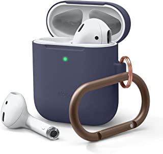 elago Upgraded AirPods Hang Case (Front LED Visible) Protective Skinny Cover Carabiner Included (with no Hinge) Compatible with Apple AirPods 2 and 1 (Jean Indigo)
