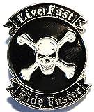 Pin esmaltado para Bicicleta/Moto con Texto en inglés Live Fast Ride Faster, diseño con cráneo y Cruz