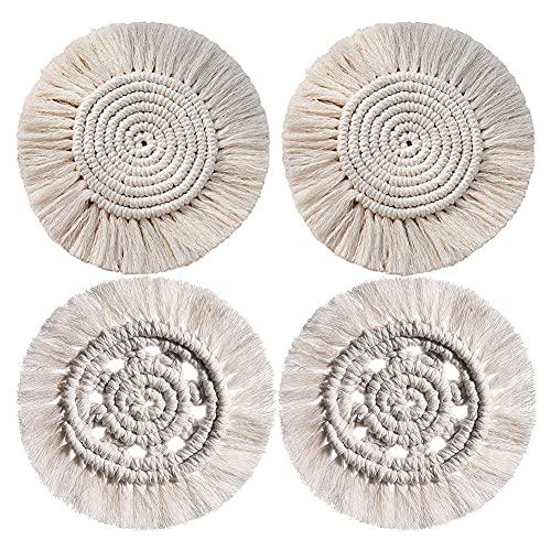 4 posavasos redondos tejidos, hechos a mano, juego de posavasos de macramé, manteles individuales de decoración bohemia, cubierta resistente al calor para sala de estar, dormitorio, café