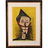 ベルナール・ビュッフェ 「きむずかしいピエロ」 道化師 絵画 人物画 リトグラフ 版画 額付き