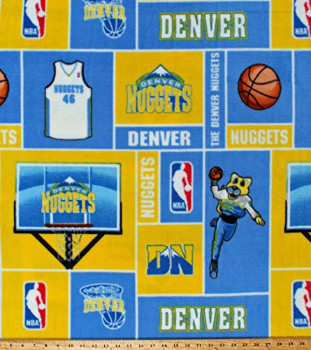 Fleece (not for masks) Denver Nuggets Squares NBA Pro Basketball Sports Team Fleece Fabric Print by The Yard (NUGG-012)
