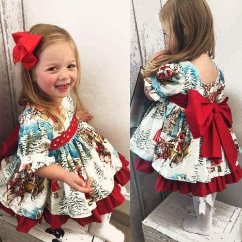 Carolilly Toddler Girls Dress Kids Christmas Floral Santa Red Bow Skirt Party Wedding Birthday Dress Clothes for Baby Girls 1-6 Years