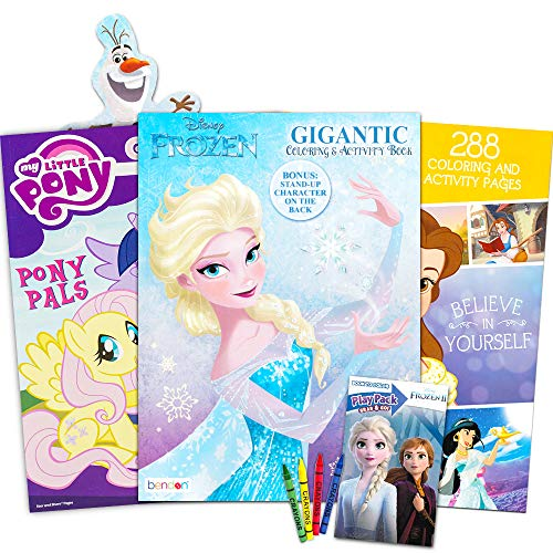 Disney MLP Coloring Book Super Set for Girls -- 3 Giant Coloring Books Featuring Disney Princess, Frozen and My Little Pony (Includes Disney Princess Stickers)