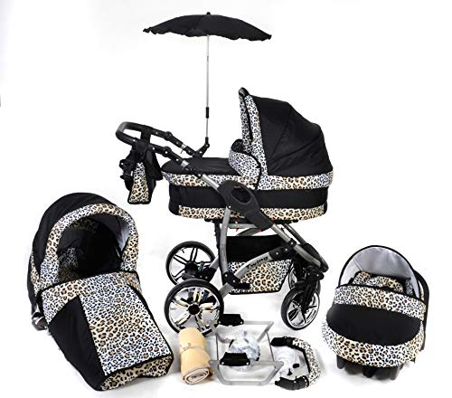 Twing, 3-in-1 Travel System with Baby Pram, Car Seat, Pushchair & Accessories (3in1 Travel System -Baby tub, Sport seat, Car seat, Black & Leopard)