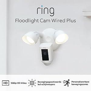 De nieuwe Ring Floodlight Cam Wired Plus van Amazon | 1080p HD-video, led-schijnwerpers, ingebouwde sirene, vaste bedrading | Met gratis proefperiode van 30 dagen voor Ring Protect | Wit