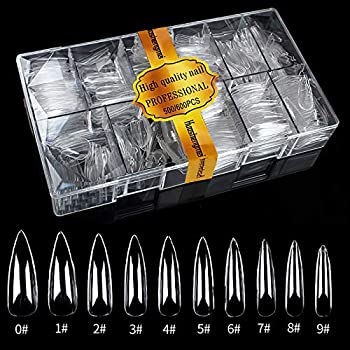 Care.D.N Clear Long Stiletto Fake Nails Tips for Girls Full Cover Acrylic Claw Nails Tips Press on Nails Long Clear False Nails for Women with Case for Nail Salons and DIY Nail Art 500pcs 10 Sizes Stiletto Shaped