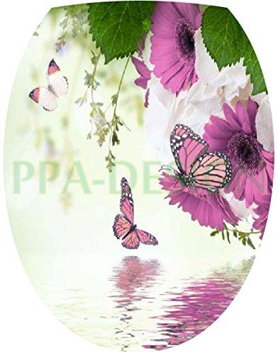 Sticker Autocollant Abattant WC Fleurs Papillons 35x42cm SAWC0060