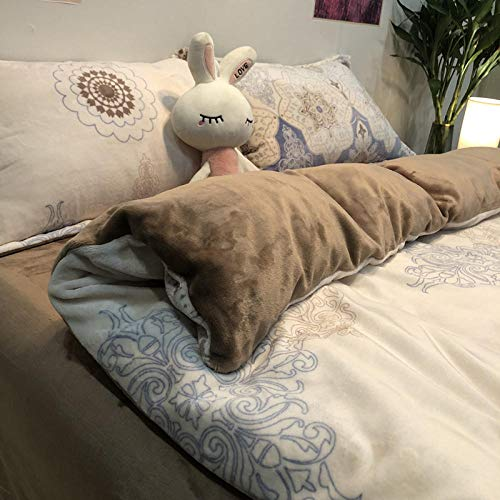 Double bed single,Thick coral fleece four-piece winter milk fleece flannel bed double-sided fleece plus fleece duvet cover sheet-GJ European style_2.0m bed 220x240 4pcs