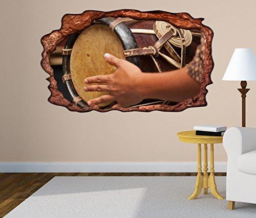 3D Wandtattoo Thai Trommel Musik Kunst Schlagzeug selbstklebend Wandbild Tattoo Wohnzimmer Wand Aufkleber 11M423, Wandbild Größe F:ca. 97cmx57cm