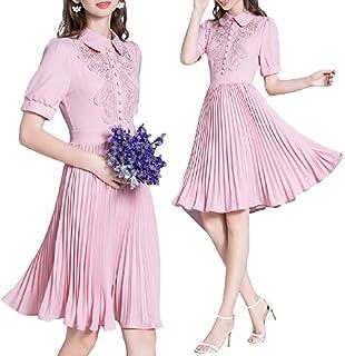 ملابس نسائية، فساتين كاجوال أنيقة مزينة بالزهور، فستان مطرز للنساء باكمام قصيرة.