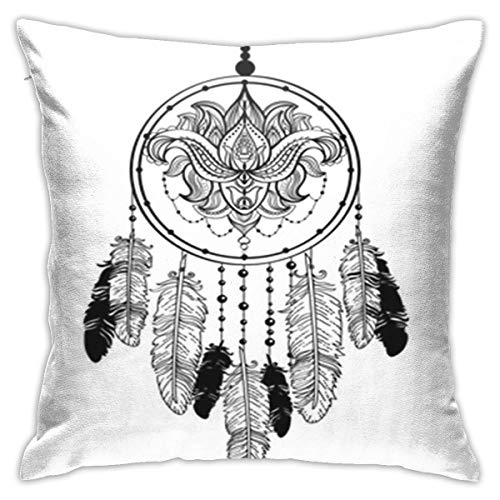 SXboxing Decorative Throw Pillow Covers 18x18 Inches,Christmas Square Throw Pillow Cases for Sofa Bedroom Car Dream Catcher Decorated with Beards Feathers and Lotus Flower Line