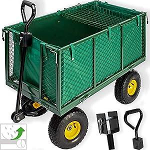Kesser® Bollerwagen ✔ 550kg belastbar Transportwagen Gartenwagen Gartenkarre ✔ herausnehmbare Plane Gerätewagen Handwagen vielseitig einsetzbar
