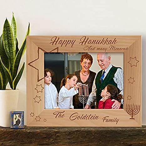 Center Gifts Happy Hanukkah And Many Menorah Personalized Wooden Picture Frame 7 X 5 Brown Horizontal Home Kitchen