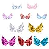 PandaHall 60 piezas de 2 tamaños de tela con purpurina de alas de ángel en relieve, 10 colores, parches iridiscentes de alas DIY con lentejuelas para bolsos, ropa, pelo, manualidades y decoración