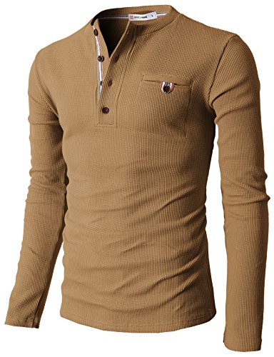 H2H Mens Casual Slim Fit Henley Shirts with Bound Pocket of Waffle Cotton DARKGOLD US M/Asia L (KMTTL062)