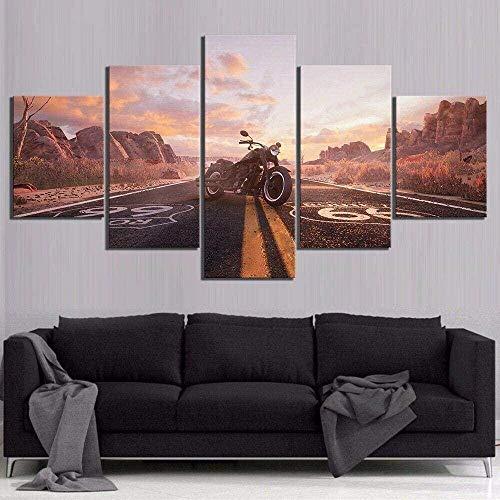 5 Cuadro en Lienzo 5 Fotos Juntas en una Sala de Estar Dormitorio Creativo murales Decorativos y Carteles(Sin Marco) Ruta 66 Paseo en Moto por Carretera