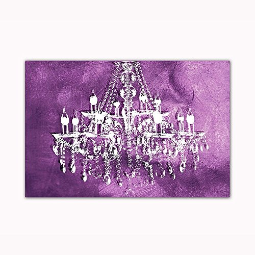 "Purple Chandelier Wall Decoration Digital Art Image Printed on 24""X36"" Canvas Stretched & Framed Ready to Hang From"