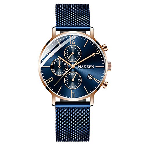 QZPM Hombre De Ultrafino Impermeable Acero Inoxidable Malla Reloj Moda Simple Multifunción Calendario Analógico Cuarzo Negocios Relojes,Azul