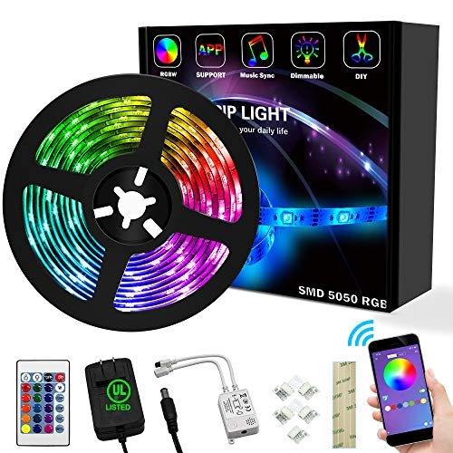 weird tails LED Strip Lights 16.4ft - (New Version) Music Sync Color Changing Lights with +50% Brightness 5050 RGB LEDs and Strong Adhesive Tape, APP Control, Dimmable, for Party, Home Decoration
