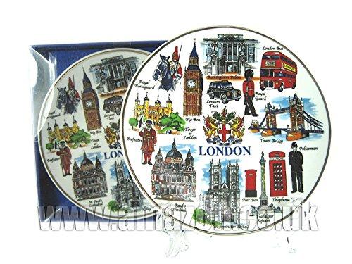 Assiette en porcelaine – Tout Londres avec Coat of Arms (20 cm avec support), Londres Souvenir à collectionner -103204