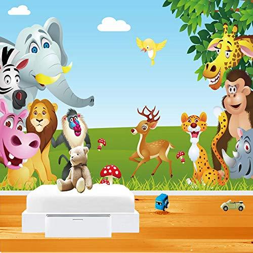 Custom 3D Muurschildering Behang Cartoon Vogel Olifant Aap Dierenwereld Kinderen Slaapkamer Babykamer Decoratie Foto Muurschildering-300x210cm(118.1by82.7in)
