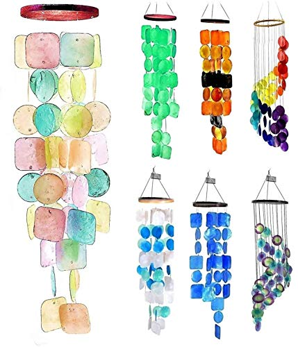 Bellaa 20713 Wind Chimes Soothing Tones Meaningful Gifts for Woman Mom Grandma Friend Family Birthday Holiday Windchimes Outdoors Outside Garden Natural Mother of Pearl Shells Capiz 27 inch