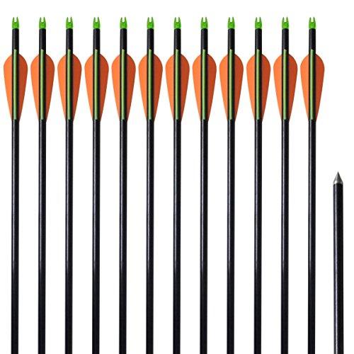 "vidaXL 12x Flechas para Arco Estándar 30"" 0,8 cm Fibra de Vidrio Tiro de Polea"