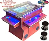 ABINCVIDEO Lift UP Screen Cherry Wood Huge 26.5 Inch Screen Full Size Commercial Grade Cocktail Arcade Machine 3500 Classic Games 2 Stools 3 Year Warranty Lifting Screen LED Trim Stools Included 09CL