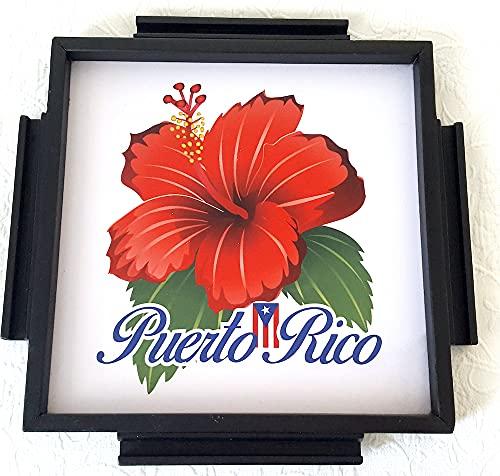 Domino Table Topper Puerto Rico Amapola, Hibiscus, (Handmade)