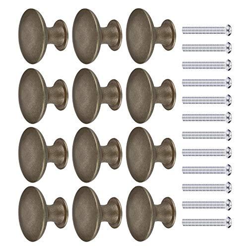 JIZZU 12 Pezzi Pomelli per Armadio Ottone Anticato con Viti, Pomello per Porta Bronzeo Rotondo Diametro 30mm, Manopole per Mobili a Forma di Fungo Retro Pomelli per Porta