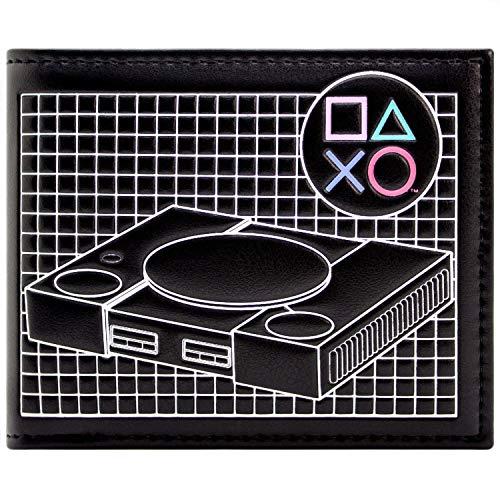 Playstation Retro Classic Console PS1 Hardware Black ID & Card Bi-Fold Wallet