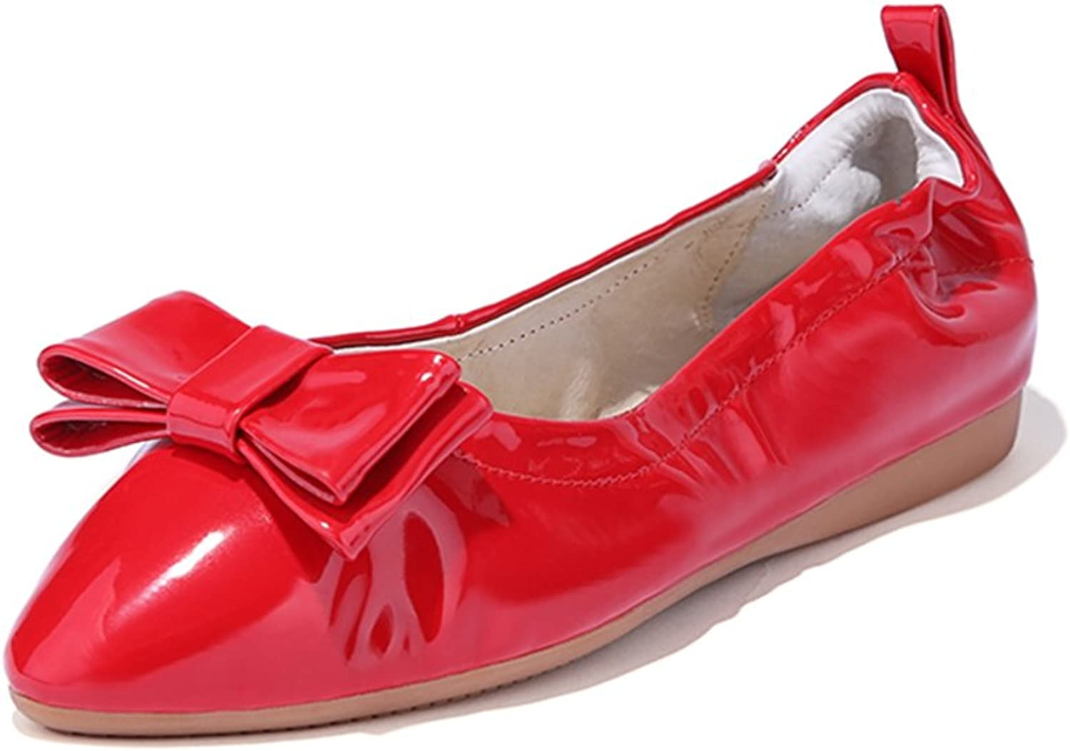 RHFDVGDS Pigskin flat pointed shoes in summer and autumn sweet egg roll shoes Doug shoes driving flat with light shoes