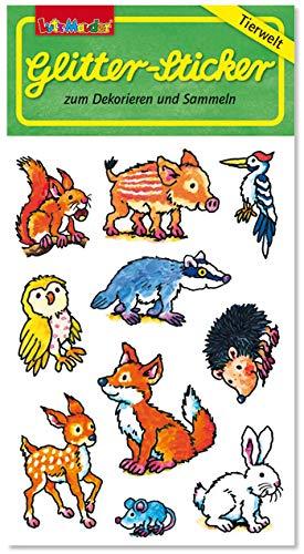 Glitter-Sticker * Waldtiere * von Lutz Mauder | 72318 | als Mitgebsel für Kinder | Süsse Tiere Aufkleber zum Kindergeburtstag & Basteln