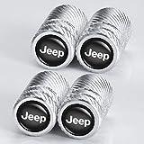 4 Pcs Metal Car Wheel Tire Valve Stem Caps for Chrysler Jeep Grand Cherokee Wrangler Compass Cherokee Renegade Patriot Grand Comander Logo Styling Decoration Accessories