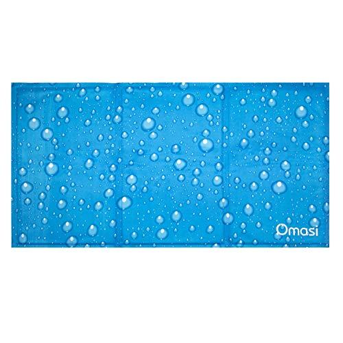 Omasi Tapis Rafraîchissant Chien, Grand Tapis Refroidissement pour Animaux de Compagnie, Bleu Pet Cooling Mat, 90 * 50cm, Non-Toxique