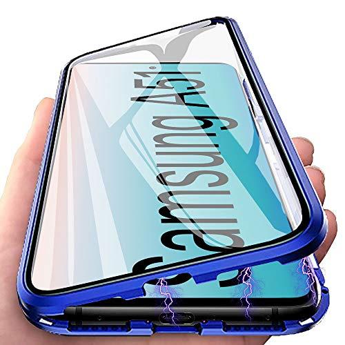 Handyhülle für Samsung Galaxy A51 Hülle Magnetic Adsorption, E-Lush Schutzhülle 360 Grad Komplett Schutz Hülle 2 in 1 Metall Bumper mit Gehärtetes Glas Ultra Dünn Transparent Case Cover, Blau