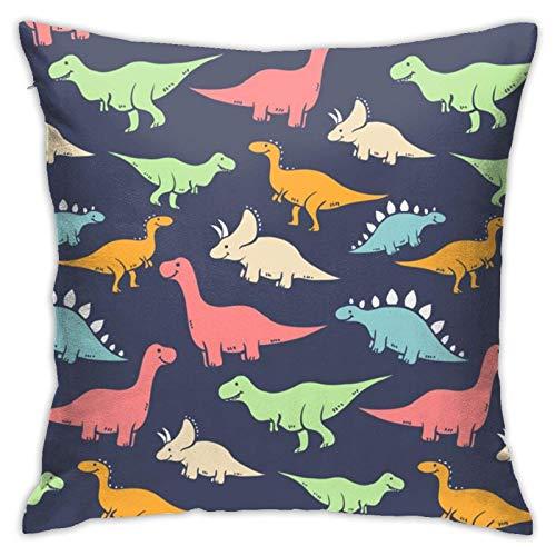Axige888 Fundas de almohada de dinosaurio de dibujos animados, 45,7 x 45,7 cm, cojín decorativo cuadrado