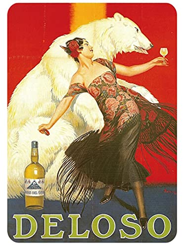 DELOSO アート Polar Bear and Flamenco Dancer メタルサイン TIN SIGN お部屋 お店 壁飾り 個性 インテリア アメリカ雑貨 アメリカンブリキ看板 レトロ調  20x30cm eiwasailsors