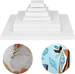 مجموعة من 8 قطع من قوالب نحت المطاط الأبيض من Cren من مجموعة أدوات حرفية ناعمة لنحت اصنعها بنفسك وختم الطباعة