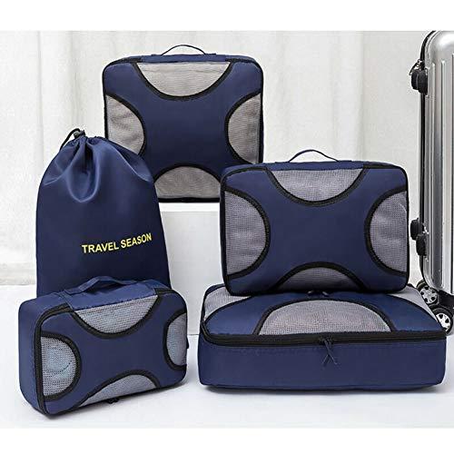 LYYAN Mueble Organizador de Equipaje,5 en 1 Set Impermeable Organizadores de Viaje para Maletas,3 Cubos de Embalaje +2 Bolsas de Almacenamiento(Rojo Sandía) Clasificar (Color : Blue)