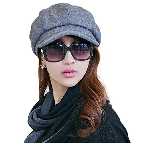 SIGGI Schirmmütze Barett Maler Mütze Damen mit Visor, 67145_Grau, Einheitsgröße