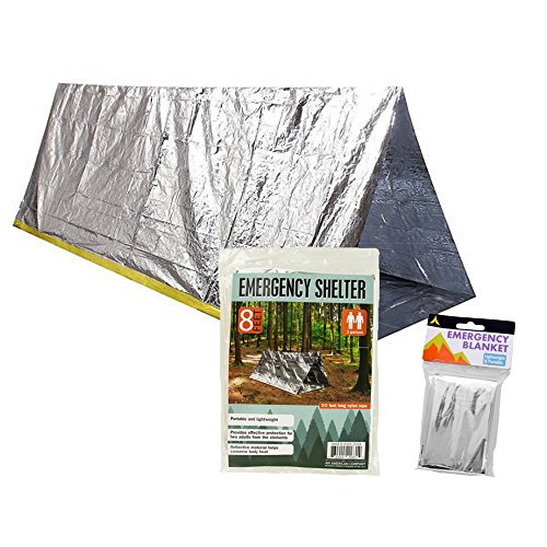 Survival Shelter Emergency Pack with Space Blanket - This Emergency Survival Pack Includes a 2 Person Survival Tent and Emergency Survival Blanket (Rope Included)
