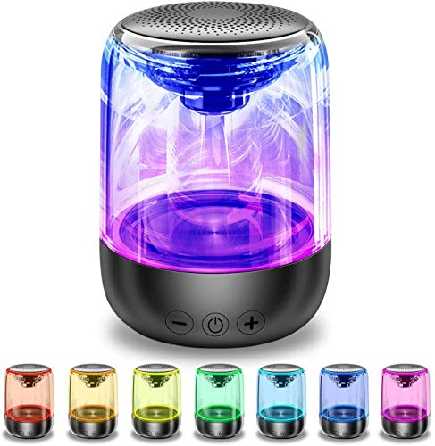 Bluetooth Speaker, Portable Adjustable 7-Color Light 360° Stereo Sound Crystal Glass Music Speakers with 12-Hour Playtime,Works with Mobile Phones, Tablets, Laptops and Desktop Computers and More