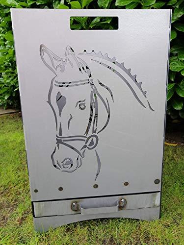 """Feuerkorb Feuerstelle Maße 40x40x60 cm Motiv\"""" Pferd/Hufeisen\"""" inkl. Ascheschublade und Zwischenboden sehr stabil GARTENDEKO FOCKBEK"""