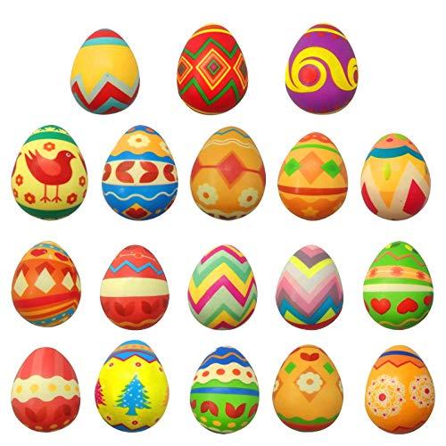 Sugely 6 piezas de huevos de Pascua de plástico de color de huevos de descompresión sensoriales juguetes para apretar lento Reboun Juguetes suaves lindos y realistas de descompresión juguete