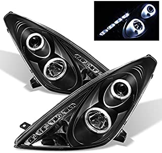 For Toyota Celica Black Bezel Dual Halo Projector DRL LED Headlights Driver/Passenger Replacement Lamps