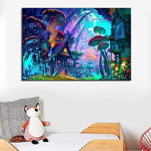 Sanzangtang Kinderkamer Decoratie Schilderij Wonderland Bos Paddenstoelen keuken poster en canvasdruk woonkamer muurschildering zonder frame
